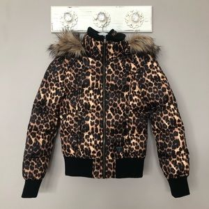 Guess   Leopard Print Coat with Detachable Hood